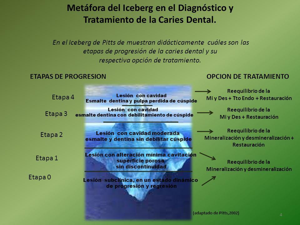 Metáfora del Iceberg en el Diagnóstico y Tratamiento de la Caries Dental. En el Iceberg de Pitts de muestran didácticamente cuáles son las etapas de p