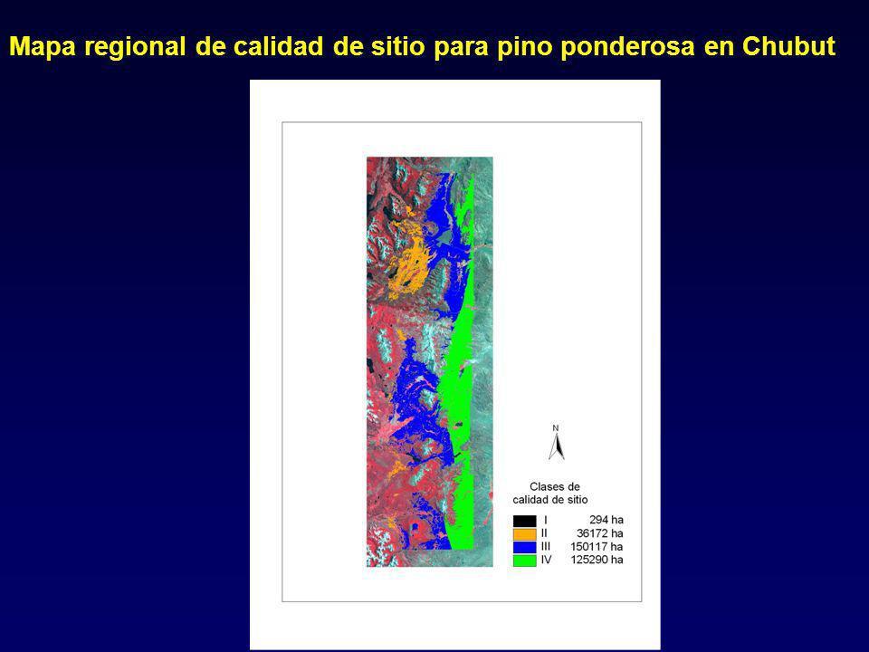 Mapa regional de calidad de sitio para pino ponderosa en Chubut