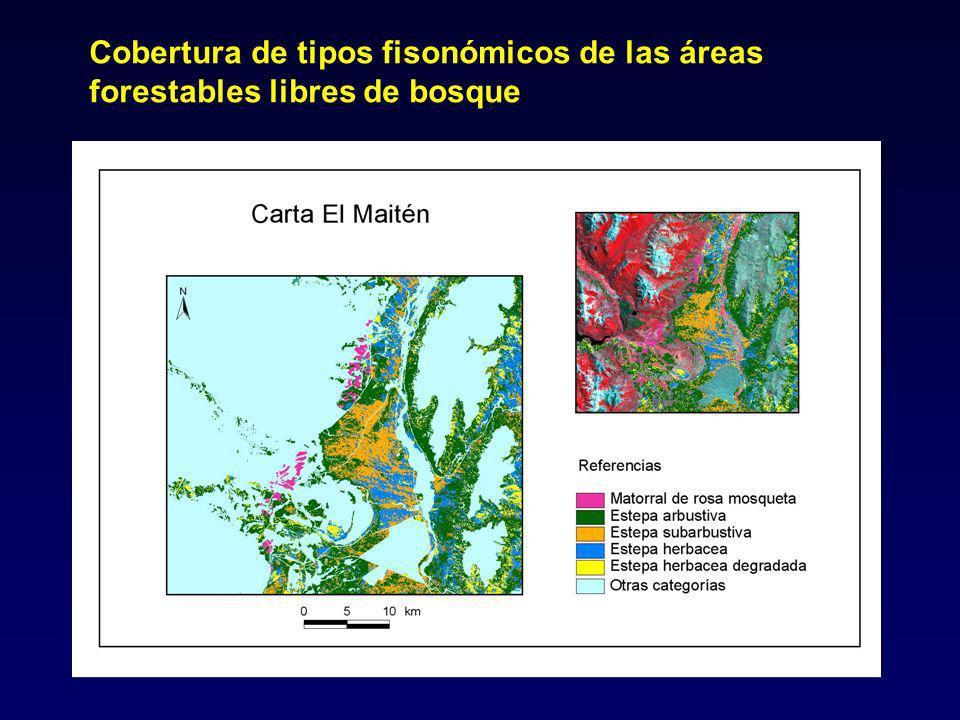 Cobertura de tipos fisonómicos de las áreas forestables libres de bosque