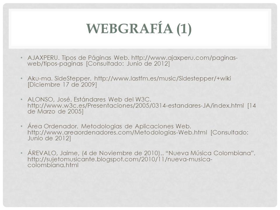 WEBGRAFÍA (1) AJAXPERU. Tipos de Páginas Web. http://www.ajaxperu.com/paginas- web/tipos-paginas [Consultado: Junio de 2012] Aku-ma. SideStepper. http