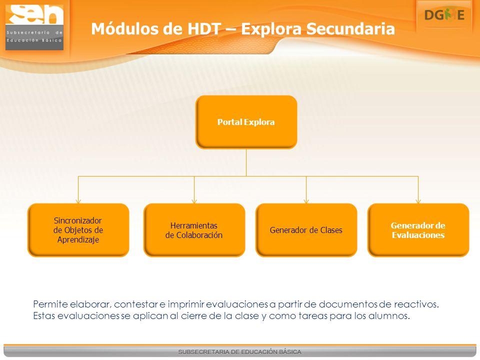 Portal Explora Sincronizador de Objetos de Aprendizaje Herramientas de Colaboración Generador de Clases Generador de Evaluaciones Módulos de HDT – Explora Secundaria Permite elaborar, contestar e imprimir evaluaciones a partir de documentos de reactivos.