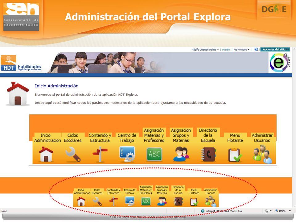 Administración del Portal Explora