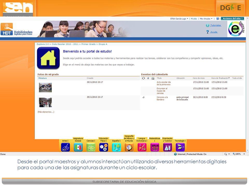 Desde el portal maestros y alumnos interactúan utilizando diversas herramientas digitales para cada una de las asignaturas durante un ciclo escolar.