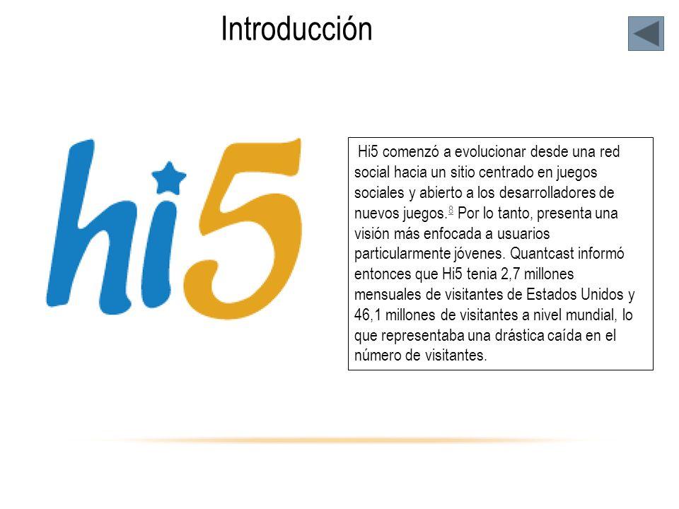 Introducción Hi5 comenzó a evolucionar desde una red social hacia un sitio centrado en juegos sociales y abierto a los desarrolladores de nuevos juegos.