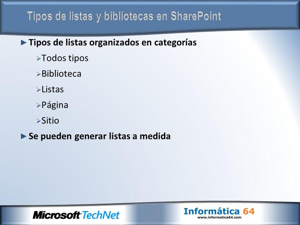 Tipos de listas organizados en categorías Todos tipos Biblioteca Listas Página Sitio Se pueden generar listas a medida