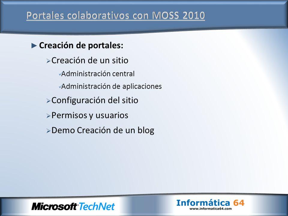 Creación de portales: Creación de un sitio Administración central Administración de aplicaciones Configuración del sitio Permisos y usuarios Demo Creación de un blog