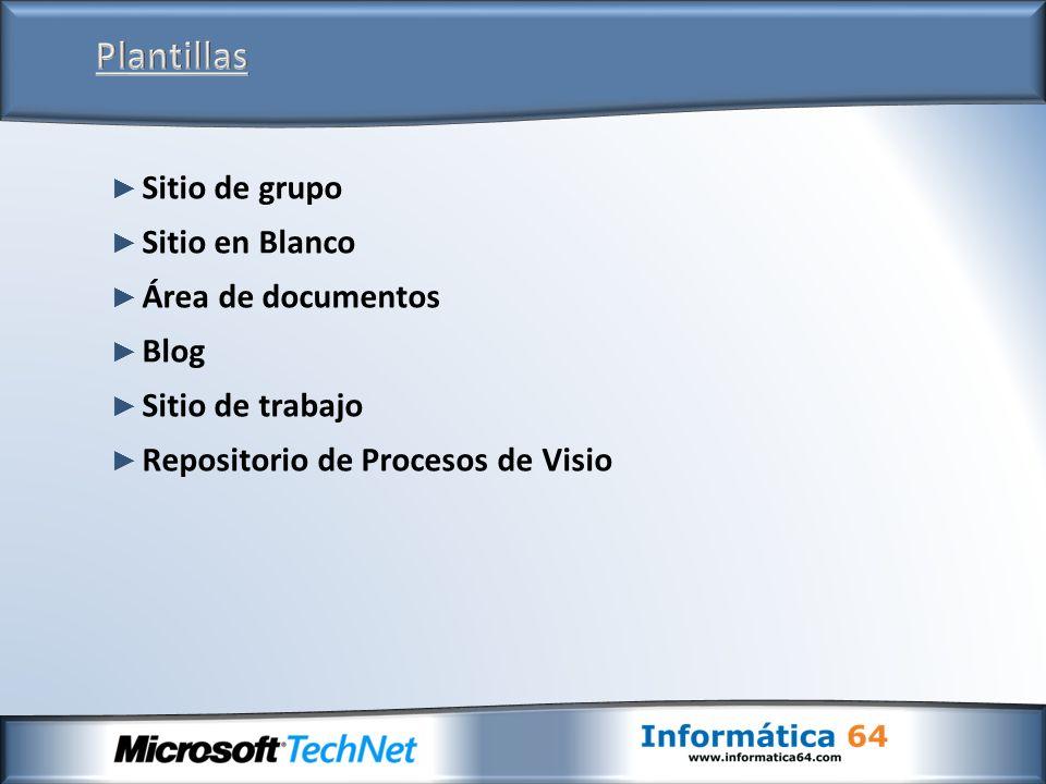 Sitio de grupo Sitio en Blanco Área de documentos Blog Sitio de trabajo Repositorio de Procesos de Visio