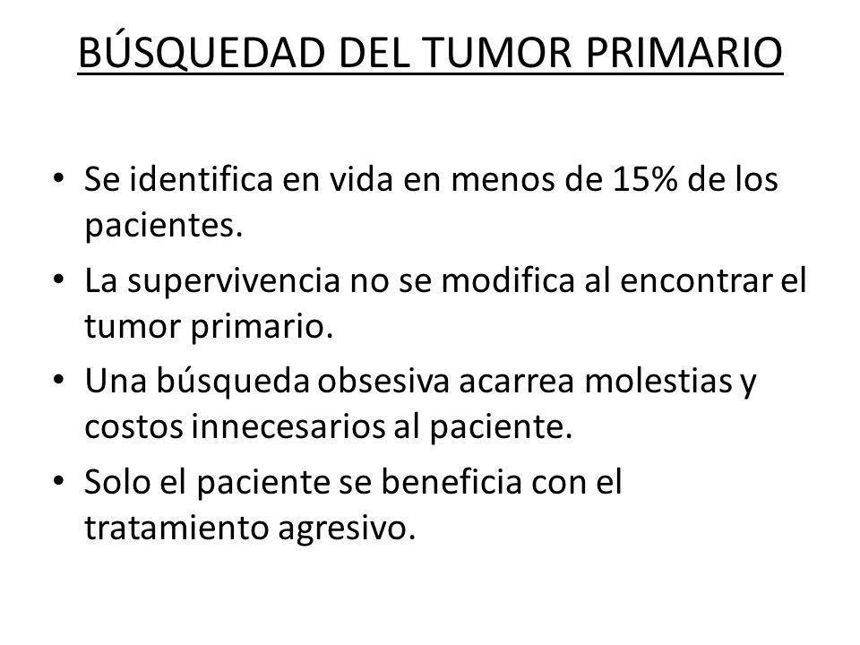 BÚSQUEDAD DEL TUMOR PRIMARIO Se identifica en vida en menos de 15% de los pacientes. La supervivencia no se modifica al encontrar el tumor primario. U