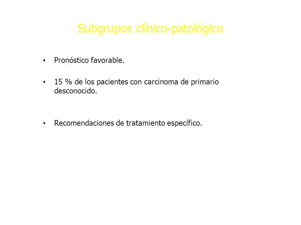 Subgrupos clínico-patológico Pronóstico favorable. 15 % de los pacientes con carcinoma de primario desconocido. Recomendaciones de tratamiento específ