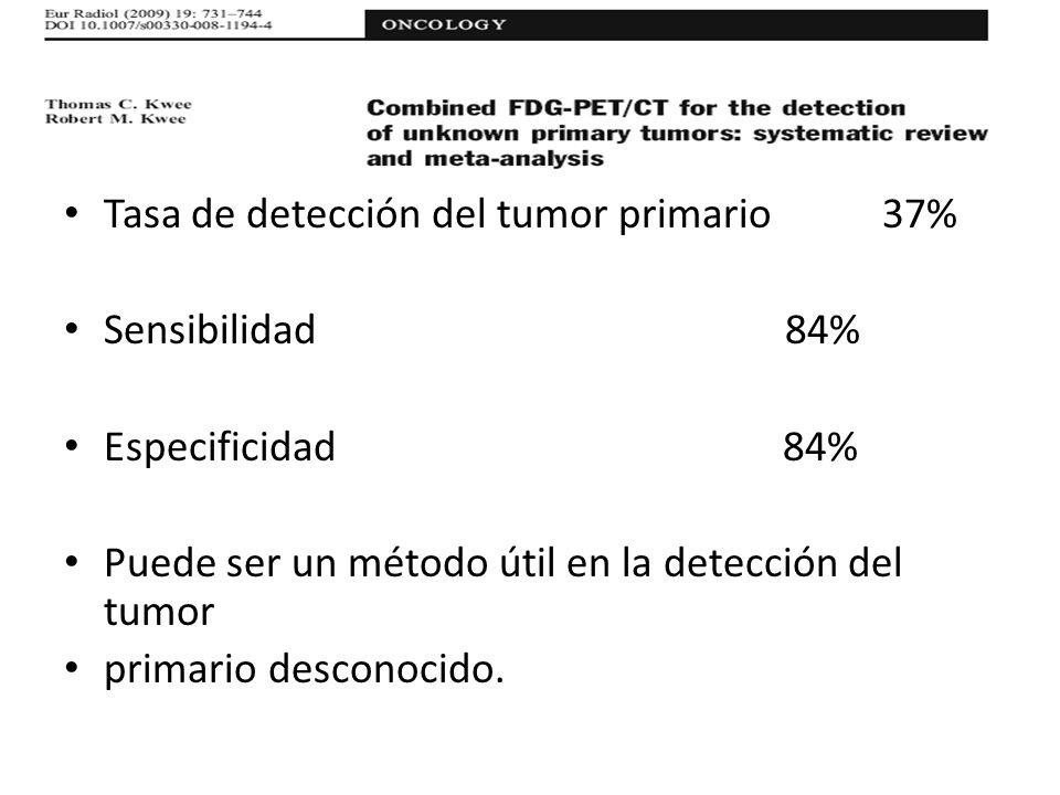 Tasa de detección del tumor primario 37% Sensibilidad 84% Especificidad 84% Puede ser un método útil en la detección del tumor primario desconocido.