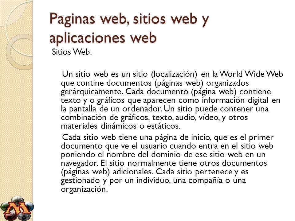 Paginas web, sitios web y aplicaciones web Sitios Web. Un sitio web es un sitio (localización) en la World Wide Web que contine documentos (páginas we