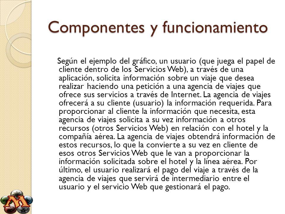 Componentes y funcionamiento Según el ejemplo del gráfico, un usuario (que juega el papel de cliente dentro de los Servicios Web), a través de una apl