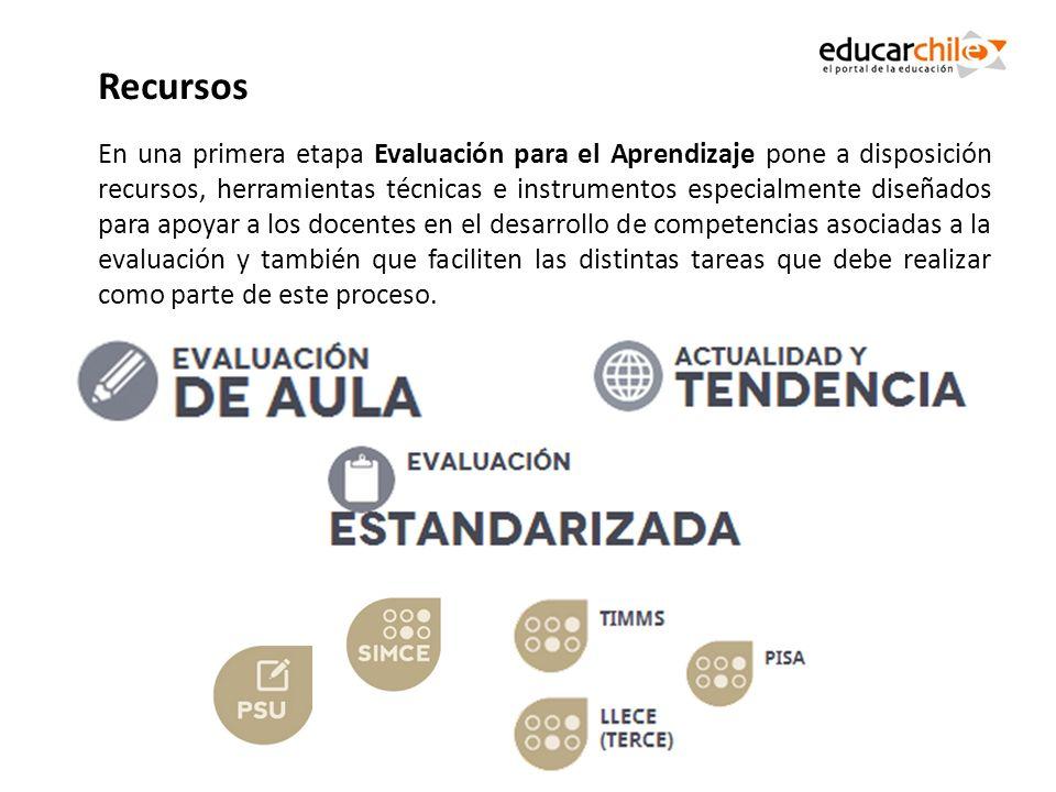 En una primera etapa Evaluación para el Aprendizaje pone a disposición recursos, herramientas técnicas e instrumentos especialmente diseñados para apo