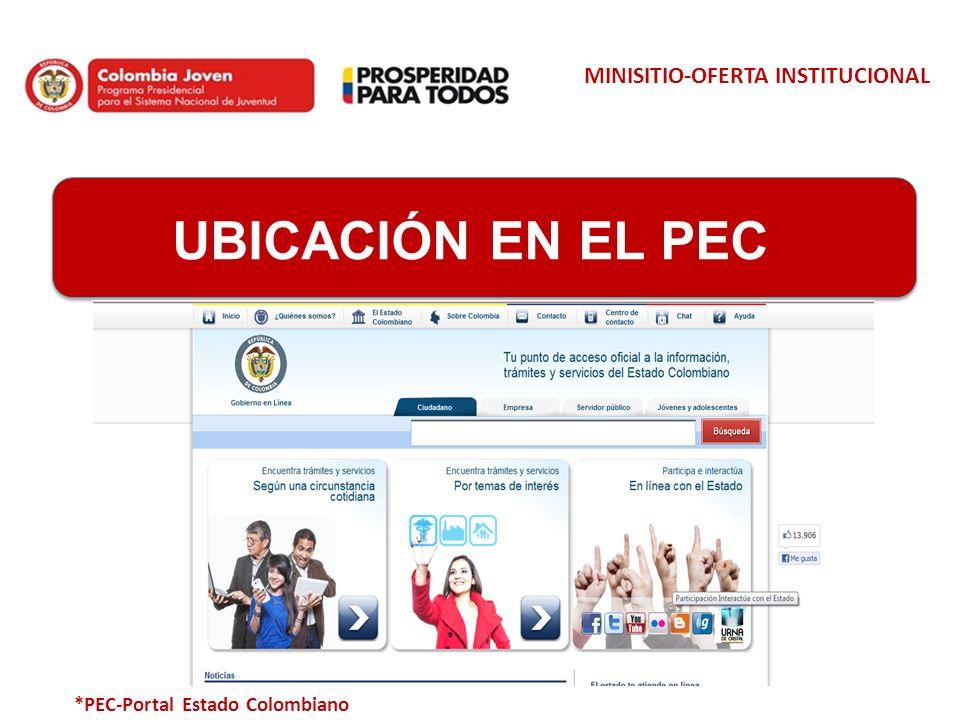 MINISITIO-OFERTA INSTITUCIONAL Ubicación en el PEC UBICACIÓN EN EL PEC *PEC-Portal Estado Colombiano