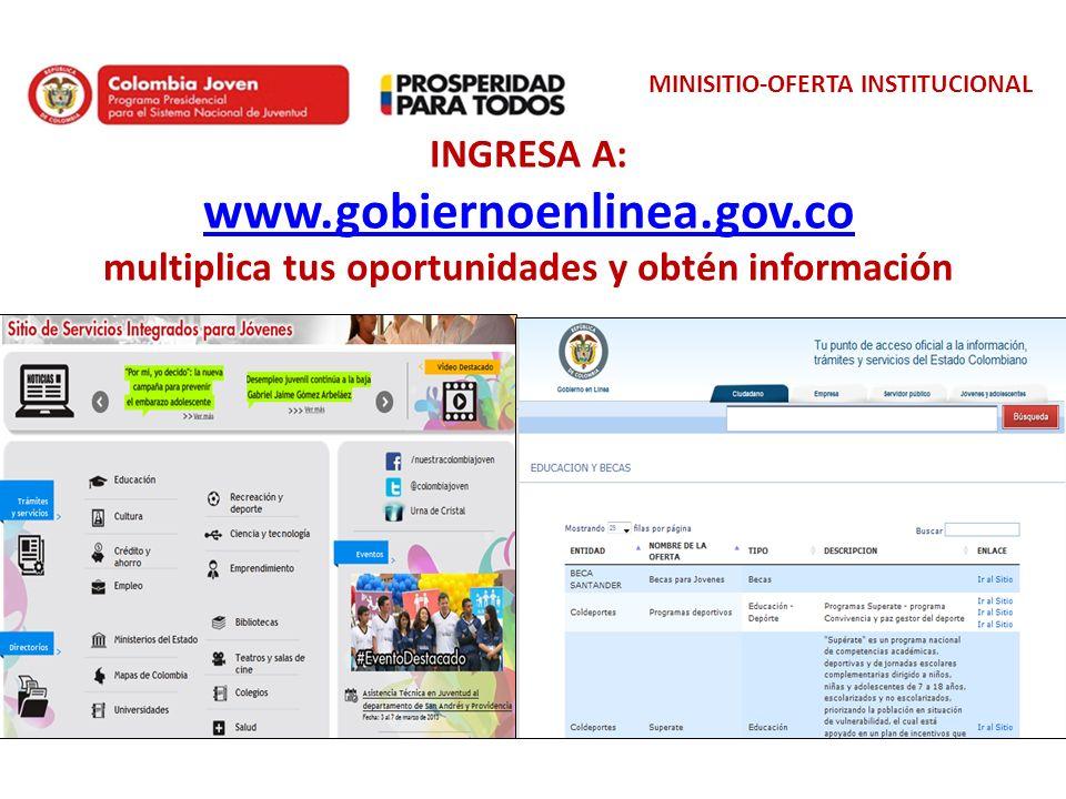 MINISITIO-OFERTA INSTITUCIONAL INGRESA A: www.gobiernoenlinea.gov.co multiplica tus oportunidades y obtén información