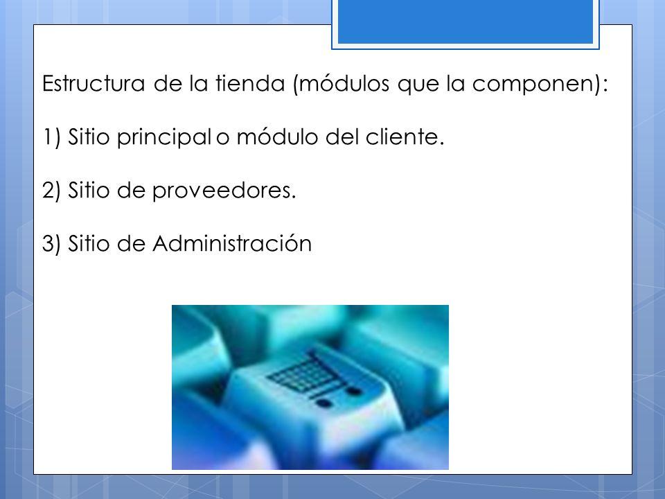 Estructura de la tienda (módulos que la componen): 1) Sitio principal o módulo del cliente. 2) Sitio de proveedores. 3) Sitio de Administración