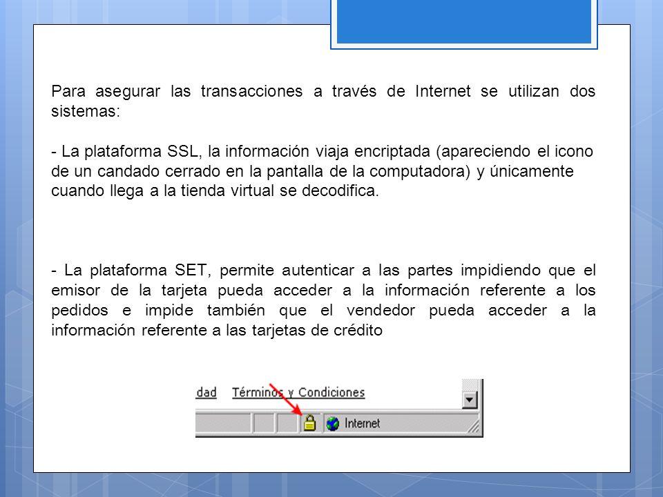 Para asegurar las transacciones a través de Internet se utilizan dos sistemas: - La plataforma SSL, la información viaja encriptada (apareciendo el ic