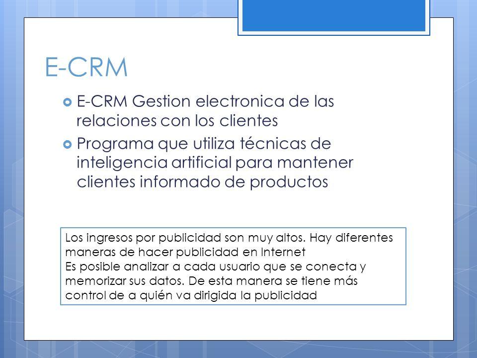 E-CRM E-CRM Gestion electronica de las relaciones con los clientes Programa que utiliza técnicas de inteligencia artificial para mantener clientes inf