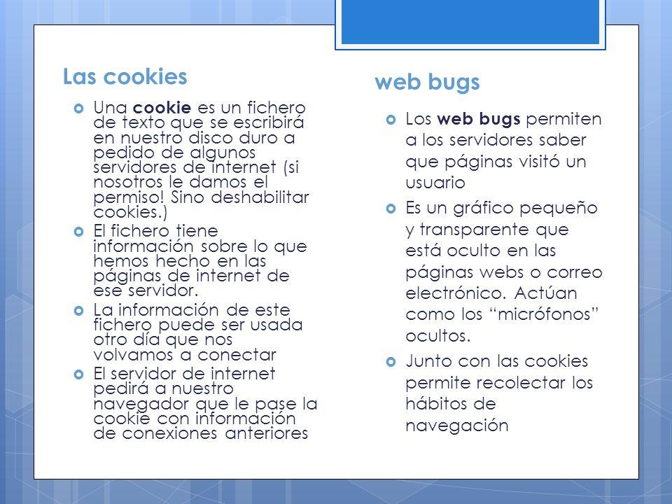Las cookies Una cookie es un fichero de texto que se escribirá en nuestro disco duro a pedido de algunos servidores de internet (si nosotros le damos