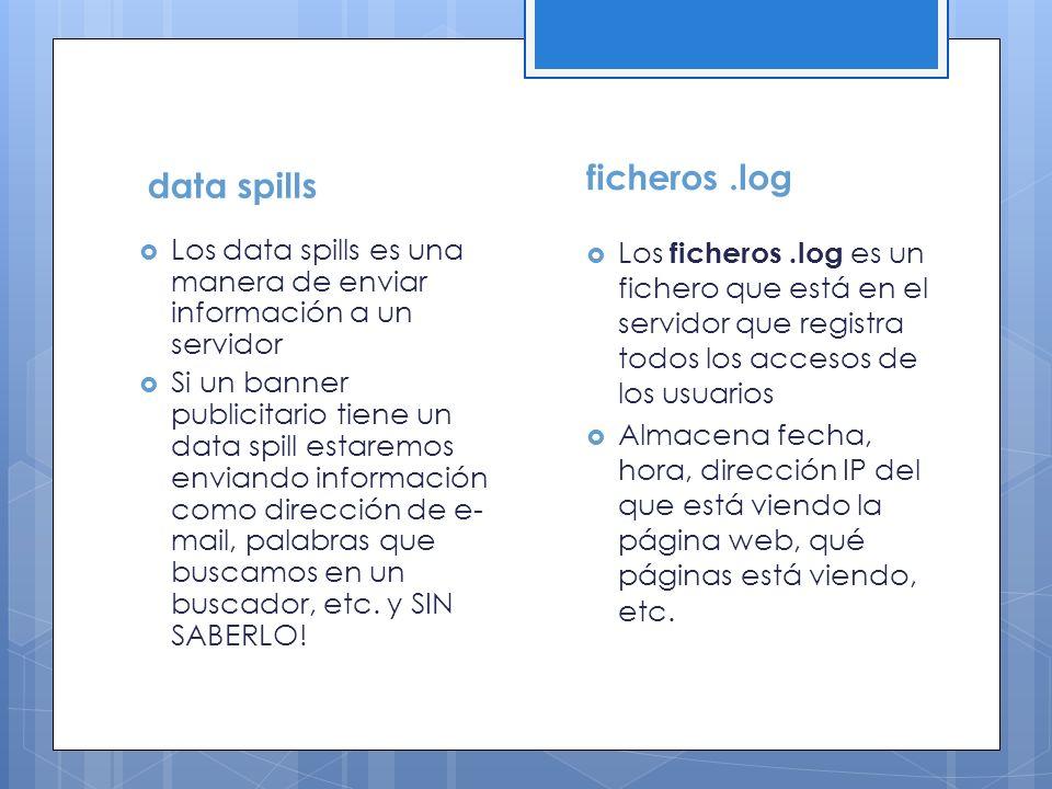 data spills Los data spills es una manera de enviar información a un servidor Si un banner publicitario tiene un data spill estaremos enviando informa
