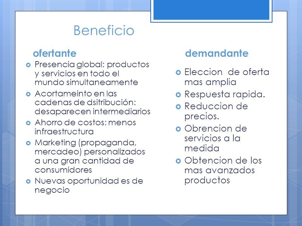 Beneficio ofertante Presencia global: productos y servicios en todo el mundo simultaneamente Acortameinto en las cadenas de dsitribución: desaparecen