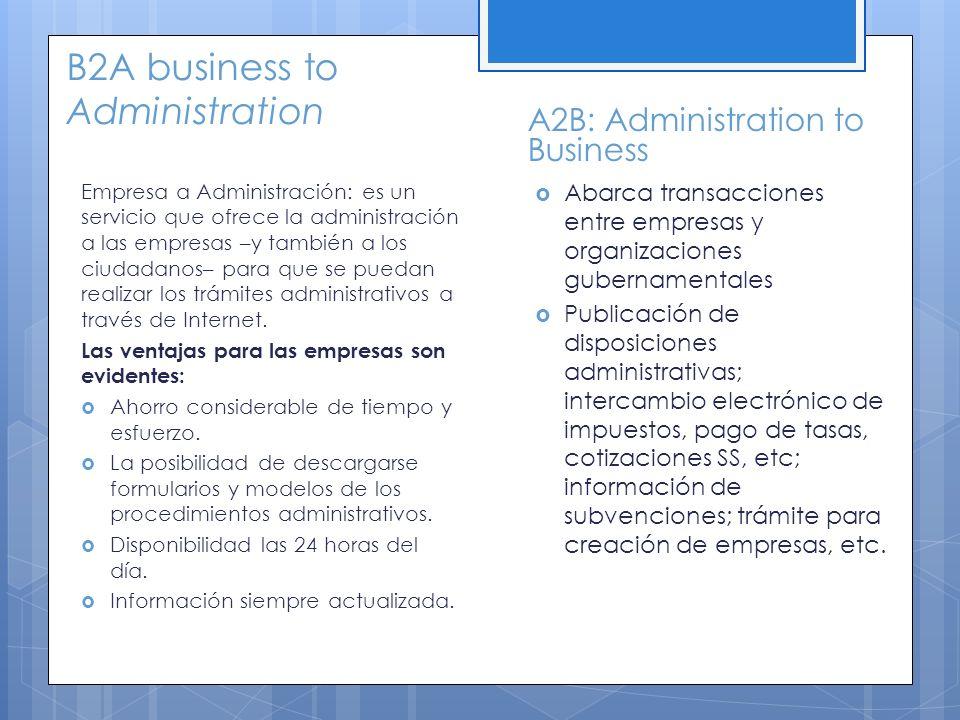 B2A business to Administration Empresa a Administración: es un servicio que ofrece la administración a las empresas –y también a los ciudadanos– para