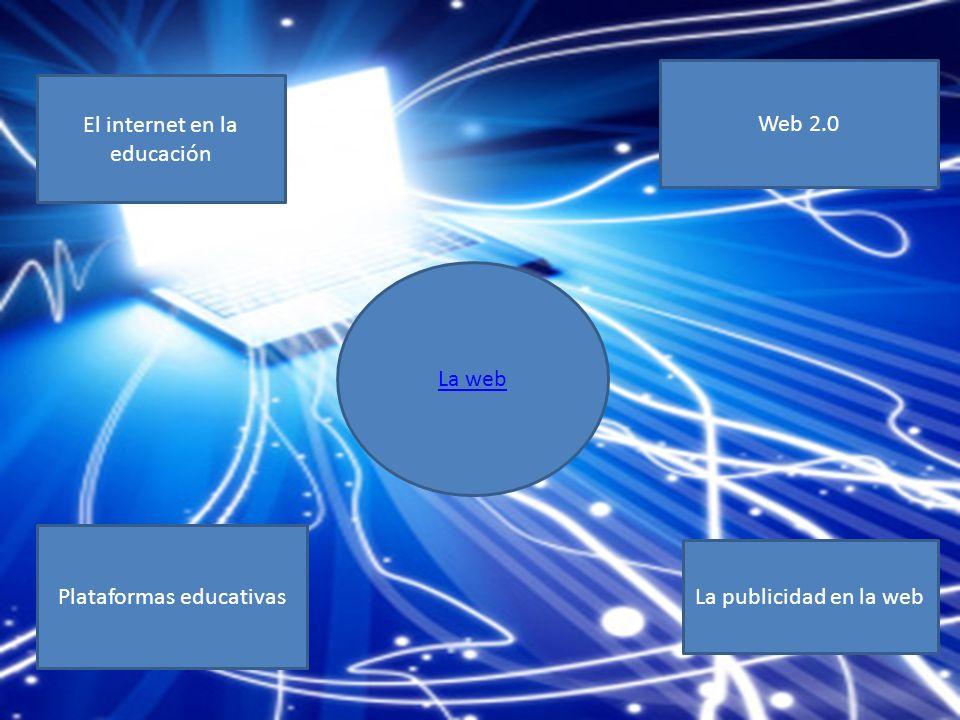 El internet en la educación Web 2.0 Plataformas educativas La publicidad en la web La web
