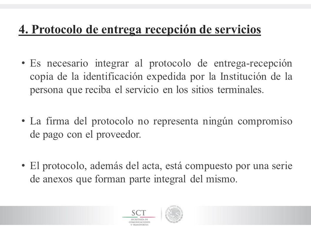 4. Protocolo de entrega recepción de servicios Es necesario integrar al protocolo de entrega-recepción copia de la identificación expedida por la Inst