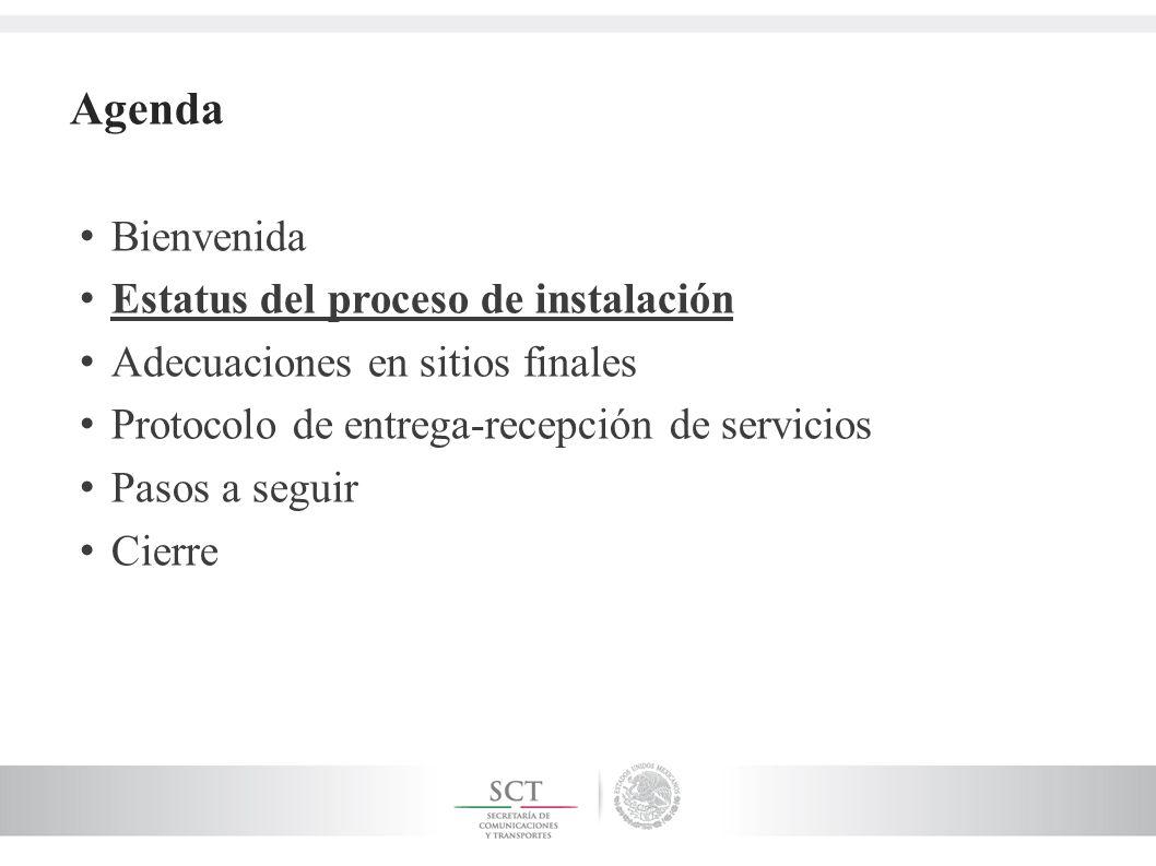 Agenda Bienvenida Estatus del proceso de instalación Adecuaciones en sitios finales Protocolo de entrega-recepción de servicios Pasos a seguir Cierre