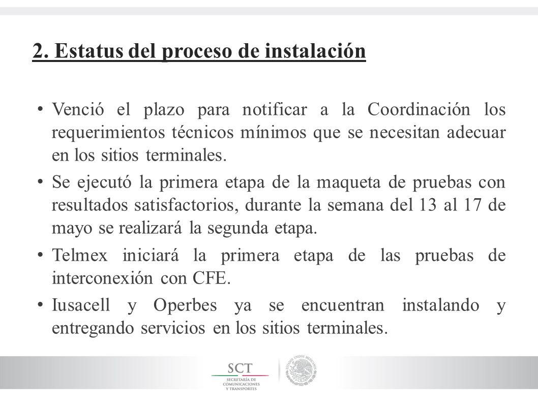 2. Estatus del proceso de instalación Venció el plazo para notificar a la Coordinación los requerimientos técnicos mínimos que se necesitan adecuar en