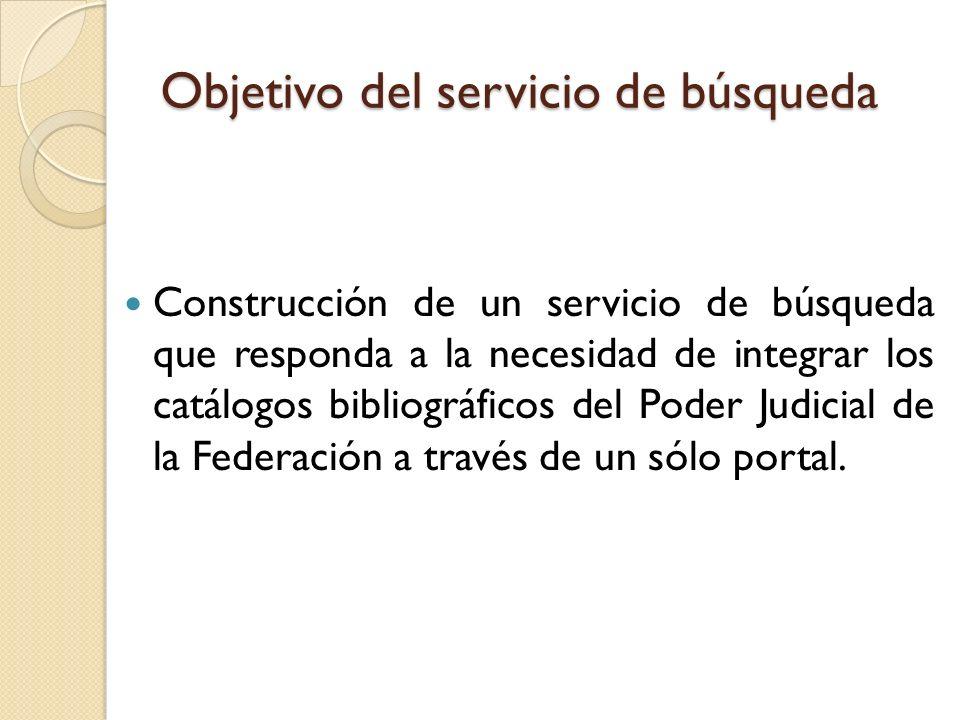 Objetivo del servicio de búsqueda Construcción de un servicio de búsqueda que responda a la necesidad de integrar los catálogos bibliográficos del Pod