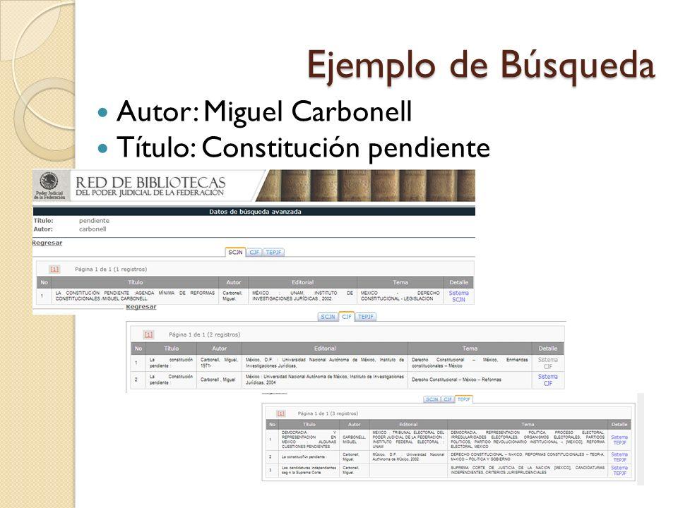 Ejemplo de Búsqueda Autor: Miguel Carbonell Título: Constitución pendiente