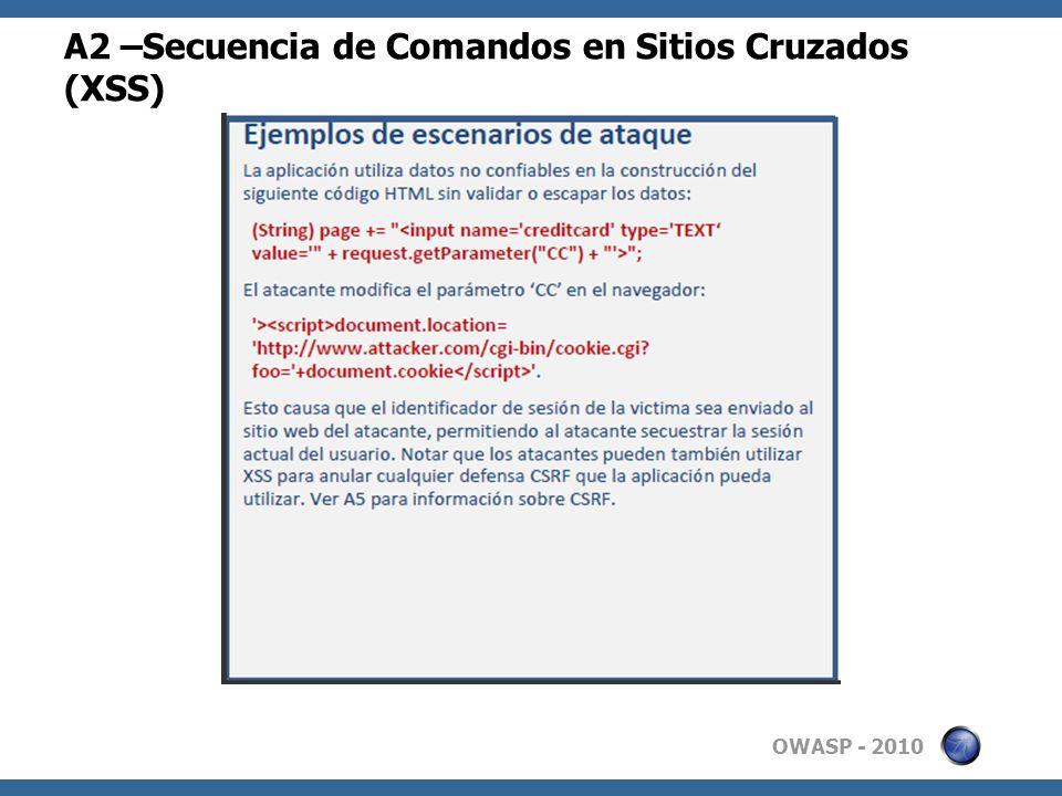 OWASP - 2010 A2 –Secuencia de Comandos en Sitios Cruzados (XSS)