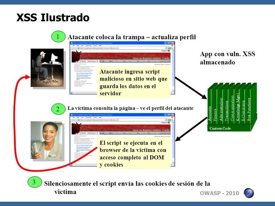 OWASP - 2010 XSS Ilustrado App con vuln. XSS almacenado 3 2 Atacante coloca la trampa – actualiza perfil Atacante ingresa script malicioso en sitio we