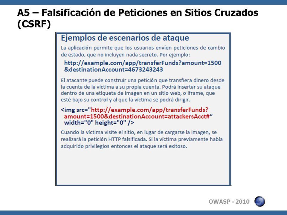 OWASP - 2010 A5 – Falsificación de Peticiones en Sitios Cruzados (CSRF)
