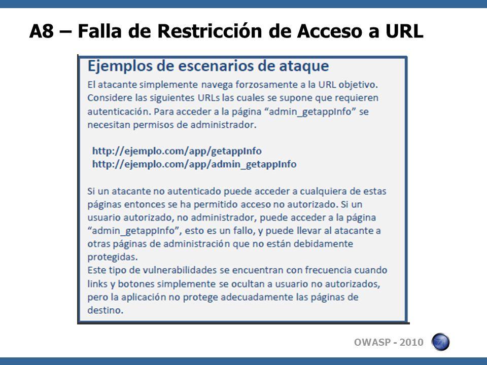 OWASP - 2010 A8 – Falla de Restricción de Acceso a URL