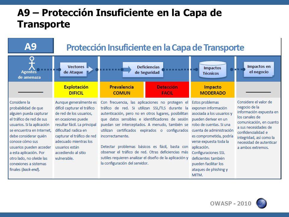 OWASP - 2010 A9 – Protección Insuficiente en la Capa de Transporte