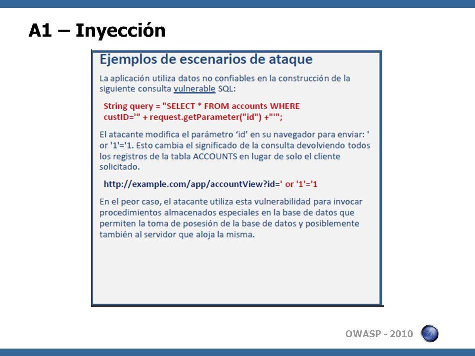 OWASP - 2010 A1 – Inyección