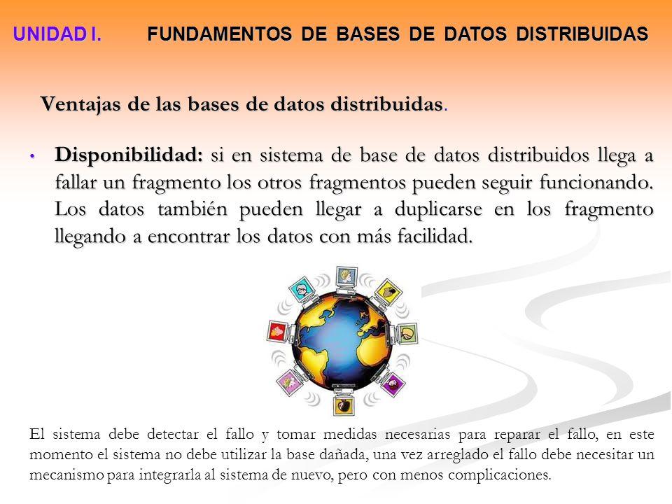 Disponibilidad: si en sistema de base de datos distribuidos llega a fallar un fragmento los otros fragmentos pueden seguir funcionando. Los datos tamb