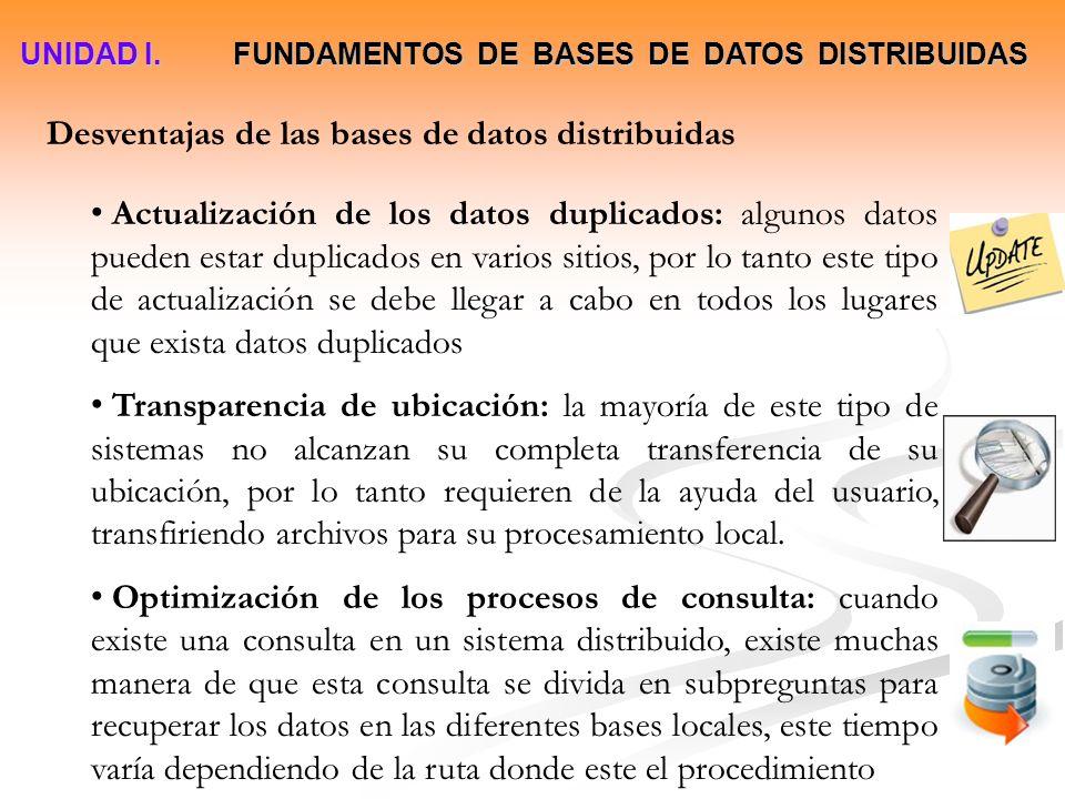 UNIDAD I. FUNDAMENTOS DE BASES DE DATOS DISTRIBUIDAS Desventajas de las bases de datos distribuidas Actualización de los datos duplicados: algunos dat