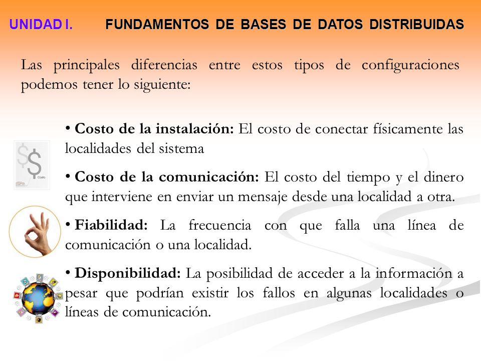 UNIDAD I. FUNDAMENTOS DE BASES DE DATOS DISTRIBUIDAS Las principales diferencias entre estos tipos de configuraciones podemos tener lo siguiente: Cost