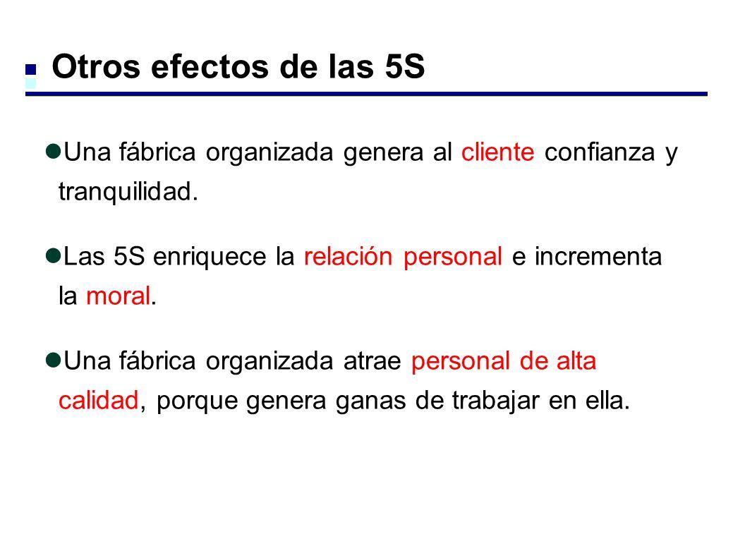 Otros efectos de las 5S Una fábrica organizada genera al cliente confianza y tranquilidad. Las 5S enriquece la relación personal e incrementa la moral