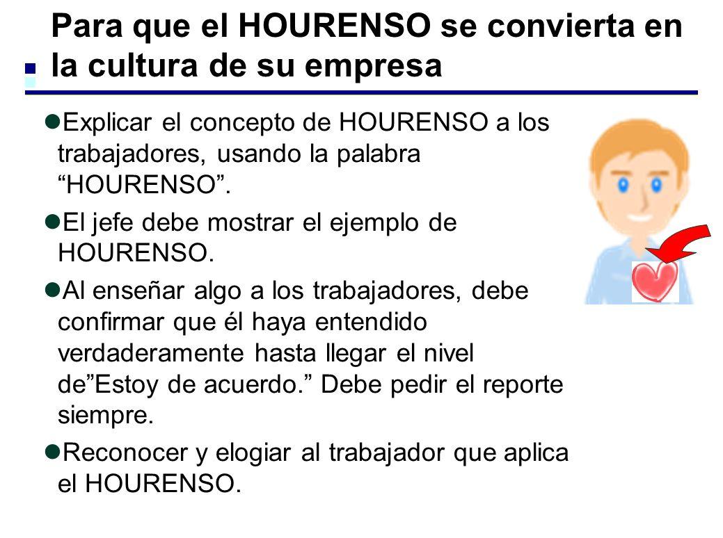 Para que el HOURENSO se convierta en la cultura de su empresa Explicar el concepto de HOURENSO a los trabajadores, usando la palabra HOURENSO. El jefe