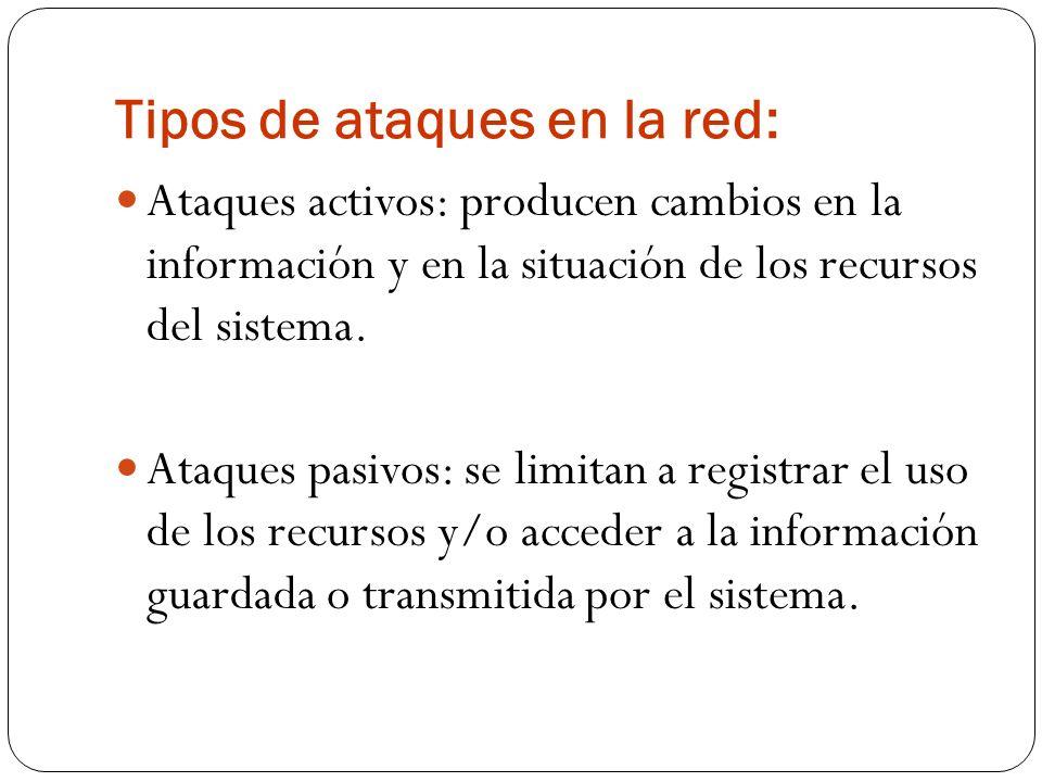 Tipos de ataques en la red: Ataques activos: producen cambios en la información y en la situación de los recursos del sistema. Ataques pasivos: se lim