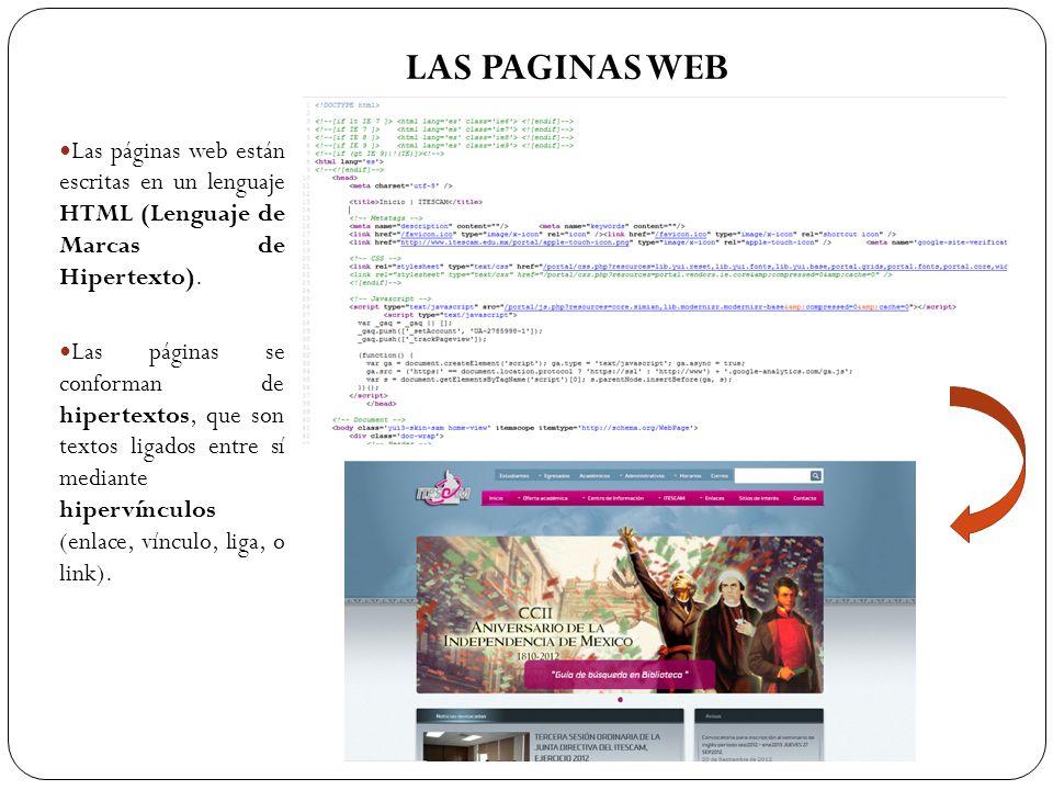 Las páginas web están escritas en un lenguaje HTML (Lenguaje de Marcas de Hipertexto). Las páginas se conforman de hipertextos, que son textos ligados