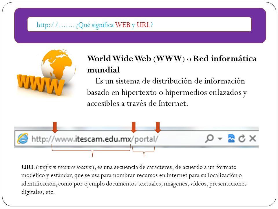 http://....... ¿Qué significa WEB y URL? World Wide Web (WWW) o Red informática mundial Es un sistema de distribución de información basado en hiperte