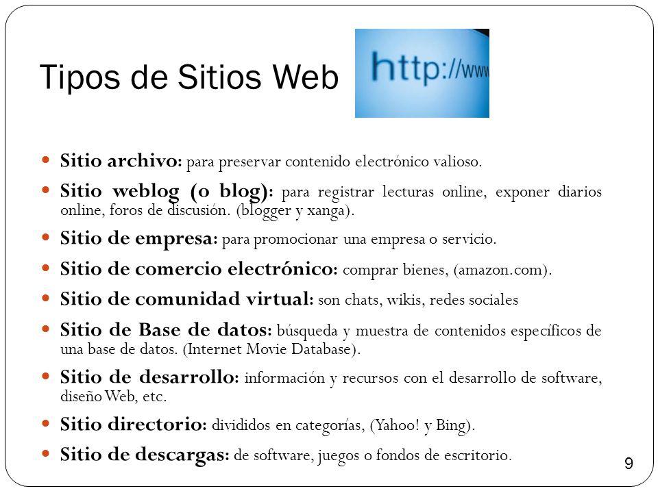 Tipos de Sitios Web Sitio archivo : para preservar contenido electrónico valioso. Sitio weblog (o blog) : para registrar lecturas online, exponer diar