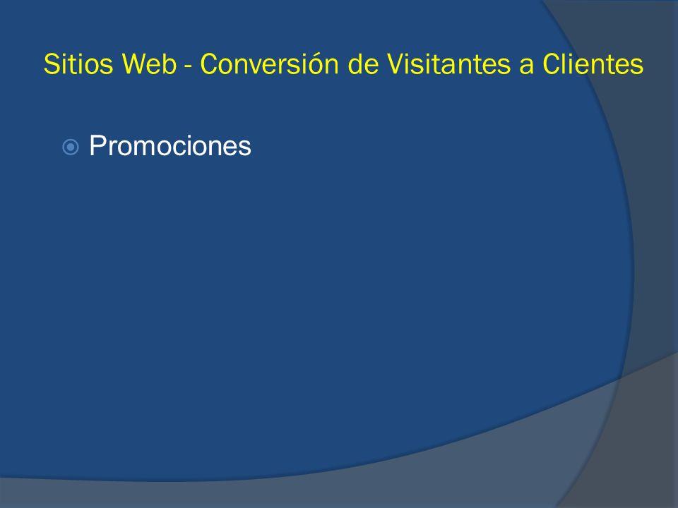 Sitios Web - Conversión de Visitantes a Clientes Promociones
