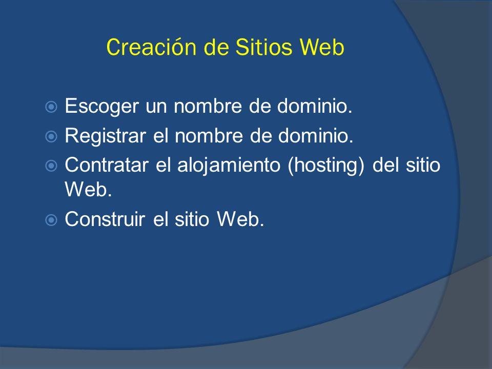 Creación de Sitios Web Escoger un nombre de dominio. Registrar el nombre de dominio. Contratar el alojamiento (hosting) del sitio Web. Construir el si
