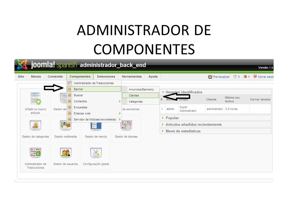 ADMINISTRADOR DE COMPONENTES Banners